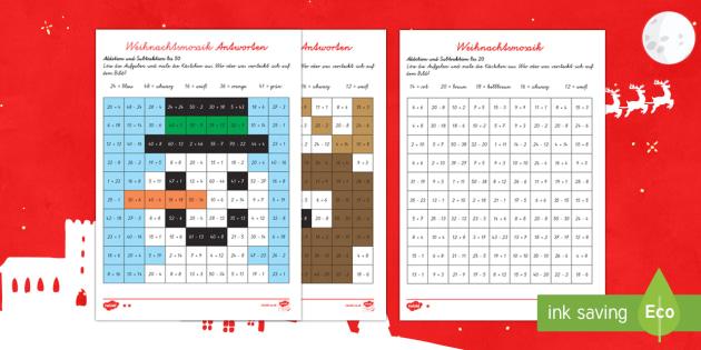 Weihnachtsmosaike Arbeitsblatt: Addieren bis 20 - DE EYFS