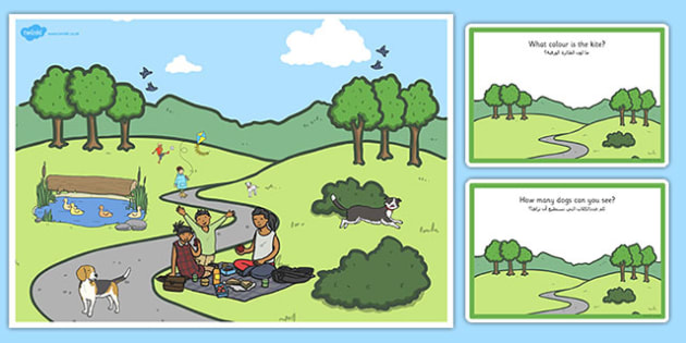 Park Scene and Question Cards Arabic Translation - arabic, park, scene, question, cards