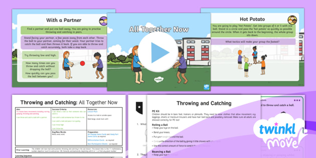 Twinkl Move - Year 1 Throwing and Catching: Lesson 4 - All Together Now - Move, pe, physical education, year 1, y1, ks1, sports, throw, catch, ball skills, planning, ppt, pow