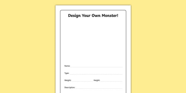Design Your Own Monster Activity Sheet, worksheet