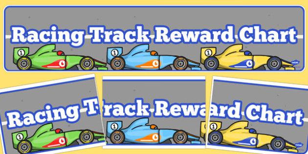 Racing Track Reward Chart Display Banner - racing track, display