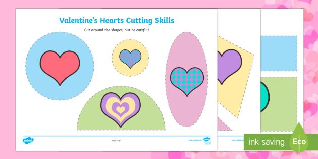 Valentine Hearts Cutting Skills Activity Sheet - Valentine's Day,  Feb 14th, love, cupid, hearts, valentine, worksheet, cutting skills, fine motor s