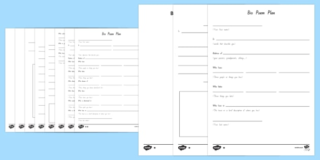 Bio Poem Writing Template