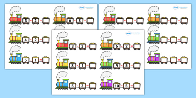Train Subtraction Worksheets - worksheets, worksheet, work sheet, subtraction, subtraction worksheets, numeracy, transport, sheets, activity, writing frame, filling in, writing activity