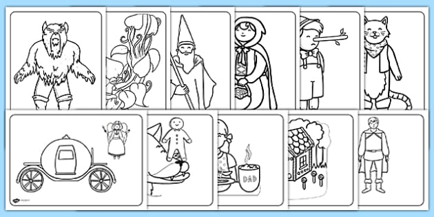 Traditional Tales Themed Colouring Sheets traditional tales