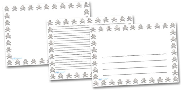 Skull and Cross Bones Landscape Page Borders- Landscape Page Borders - Page border, border, writing template, writing aid, writing frame, a4 border, template, templates, landscape