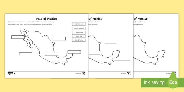 Map of Mexico Differentiated Worksheets - Geography