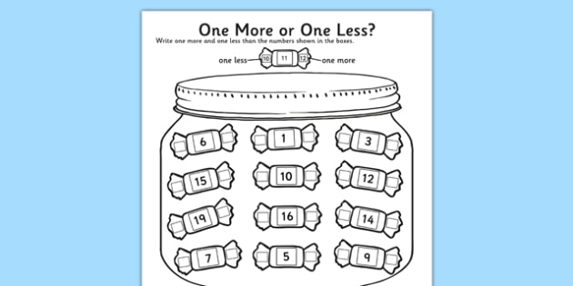 One More One Less Sweet Counting Worksheet / Activity Sheet