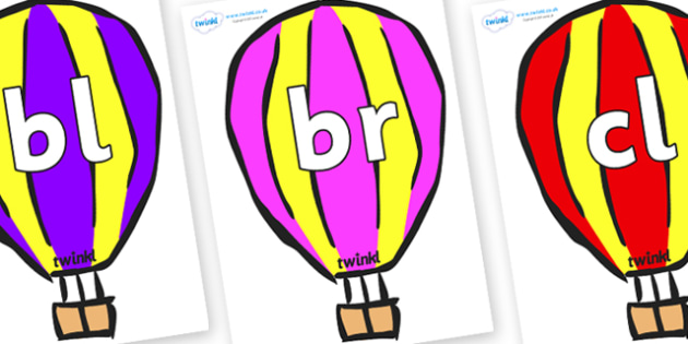 Initial Letter Blends on Hot Air Balloons (Multicolour) - Initial Letters, initial letter, letter blend, letter blends, consonant, consonants, digraph, trigraph, literacy, alphabet, letters, foundation stage literacy