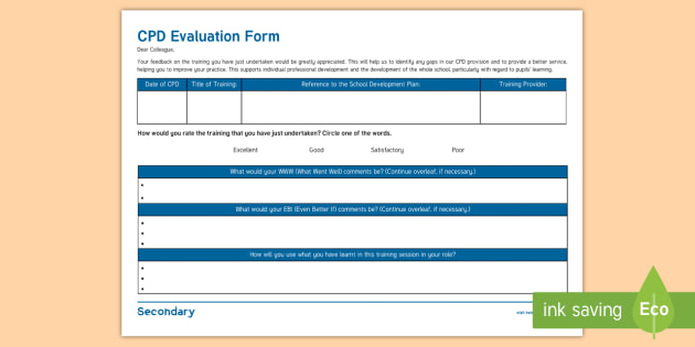 cpd certificate template - sen cpd evaluation form new senco handbook secondary