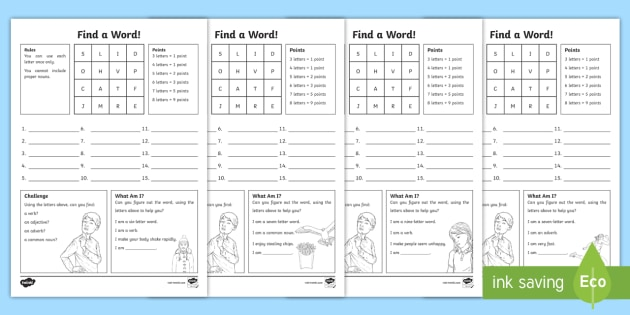 Find A Word Worksheet / Worksheet Pack - boggle, find a word, word game