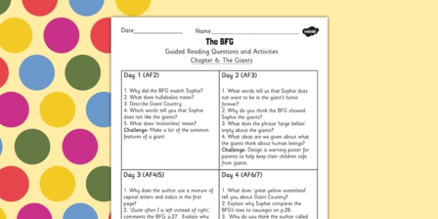 Guided Reading Questions Chapter 6 to Support Teaching on The BFG - bfg, questions, reading