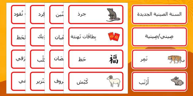 بطاقات مفردات السنة الصينية الجديدة - بطاقات تعليمية، مفردات
