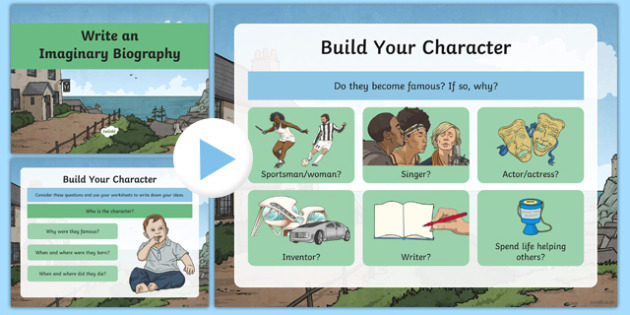 Imaginary Biography Writing and Character Building Powerpoint with Worksheets - biography, biography powerpoint, how to write a biography, characters
