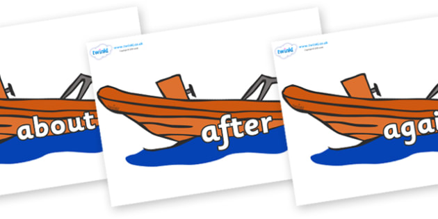 KS1 Keywords on Lifeboats - KS1, CLL, Communication language and literacy, Display, Key words, high frequency words, foundation stage literacy, DfES Letters and Sounds, Letters and Sounds, spelling