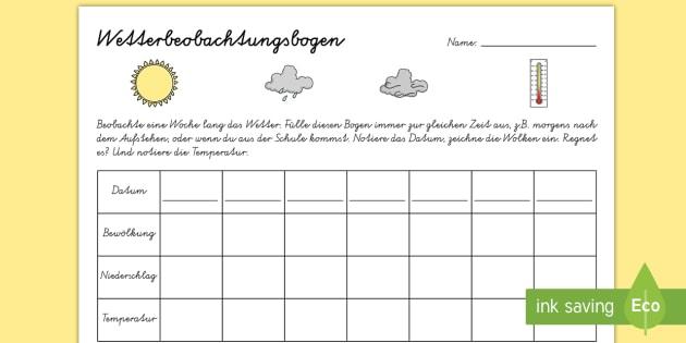 Wetterbeobachtung Arbeitsblatt - Frühling, Wetter, Jahreszeit