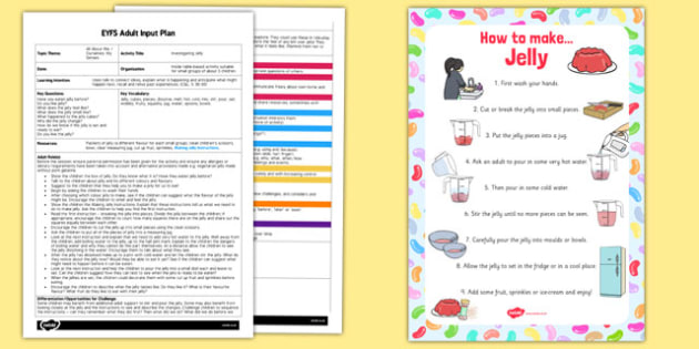 Investigating Jelly EYFS Adult Input Plan And Resource Pack- adult led, plan, jelly