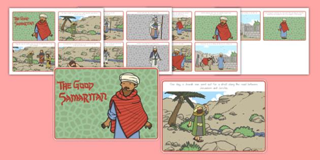 The Good Samaritan Story Sequencing 4 per A4 - usa, america, the good samaritan, story sequencing, 4 per a4