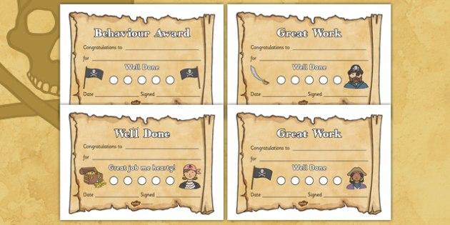 Pirate Sticker Reward Certificates 15mm Pirate Reward