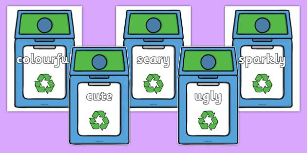 Wow Words on Eco Bins - wow words, eco bins, eco, bins, wow, words, display, display words