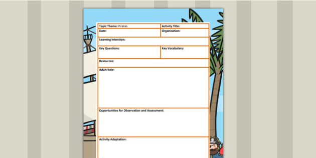 Pirate Themed Adult Led Focus Planning Template - pirates, plan