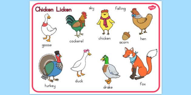 Chicken Licken Word Mat - australia, chicken licken, word mat