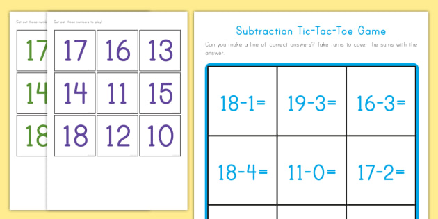 Subtraction Tic Tac Toe Game To Twenty  Subtract Math Games