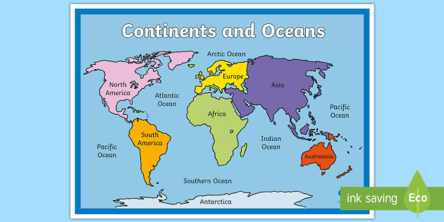 photo relating to Printable Map of Continents and Oceans titled Continents and Oceans Map