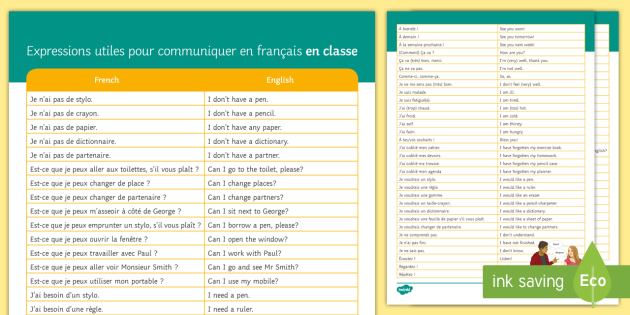 French Target Language Word Grid - Back to School, French, target language, key phrases, speaking - Back to School, French, target language, key phrases, speaking