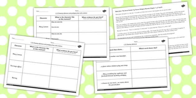Secret Garden Inferences Activity Sheets secret worksheet – Inferences Worksheets
