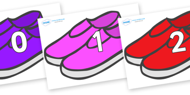 Numbers 0-100 on Shoes - 0-100, foundation stage numeracy, Number recognition, Number flashcards, counting, number frieze, Display numbers, number posters