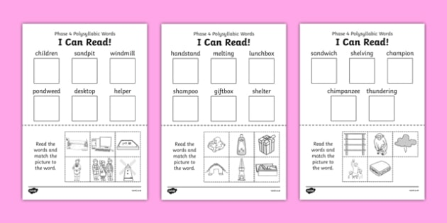 I Can Read Phase 4 Polysyllabic Words Activity Sheet - read, word, worksheet