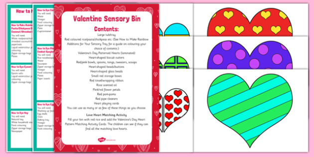 Valentine Themed Sensory Bin and Resource Pack - Valentine, hearts, love, sensory