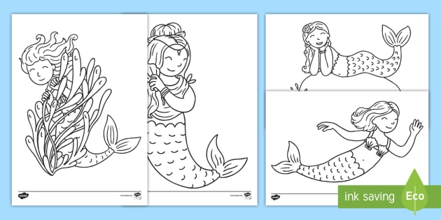 Mermaid Coloring Pages (teacher Made)