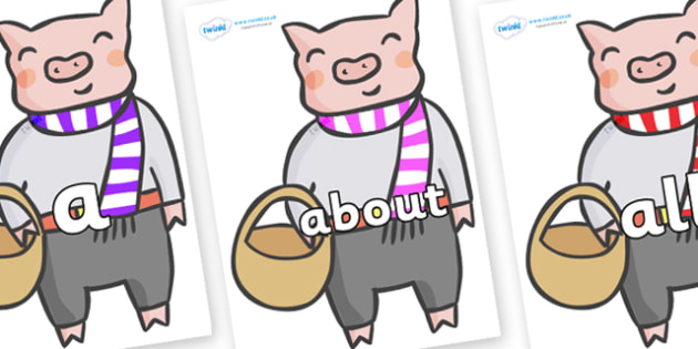 100 High Frequency Words on Little Piggy - High frequency words, hfw, DfES Letters and Sounds, Letters and Sounds, display words