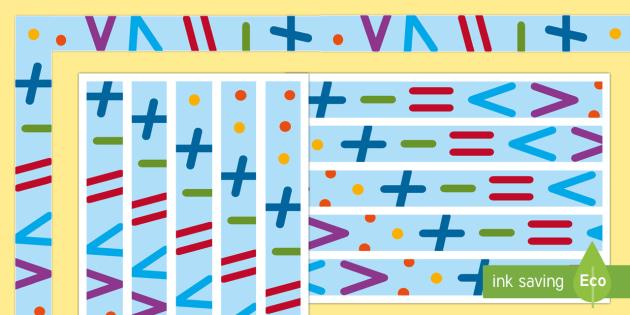 Mathematik Symbole Rahmen Zum Ausdrucken Für Die Klassenraumgestaltung