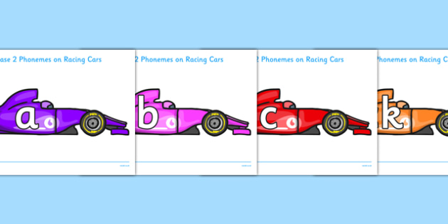 Phase 2 Phonemes on Racing Cars - Phonemes, phoneme, Phase 2, Phase two, Foundation, Literacy, Letters and Sounds, DfES, display