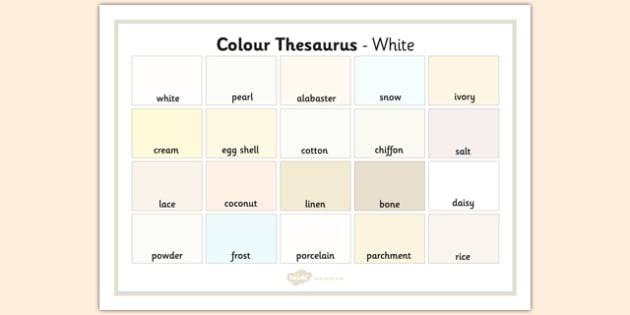 Colour Thesaurus Word Mat White - colour thesaurus, colour, thesaurus, word mat, word, mat, white