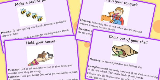 Animal Idioms Meaning Cards Set 2 Animal Idioms Meaning