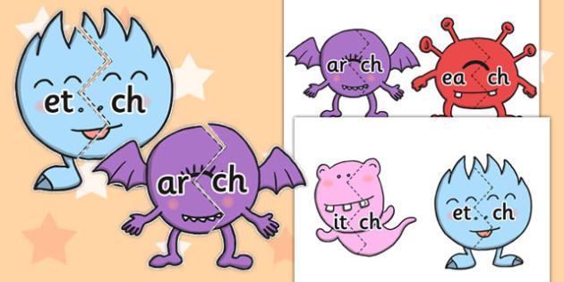 Vowel and Final 'ch' Sound Monster Jigsaws - ch sound, monster, jigsaw