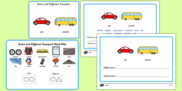 Same and Different Transport - Concept development, language delay, language disorder, semantic links, describing, vocabulary development, autism