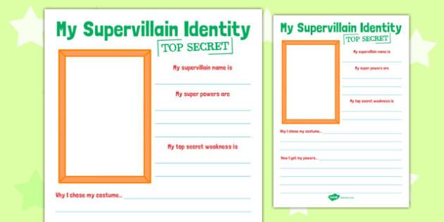 Supervillain Transition Writing Frame - supervillain, transition