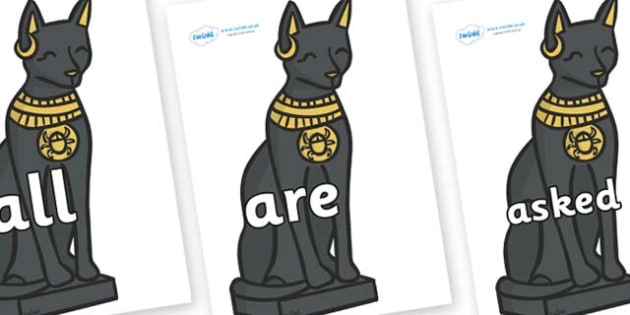 Tricky Words on Egyptian Cats - Tricky words, DfES Letters and Sounds, Letters and sounds, display, words