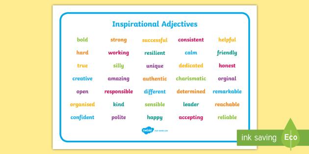 inspirational adjective words word mat inspirational adjective. Black Bedroom Furniture Sets. Home Design Ideas
