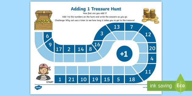 Adding 1 Treasure Hunt Worksheet / Activity Sheet - Pirates