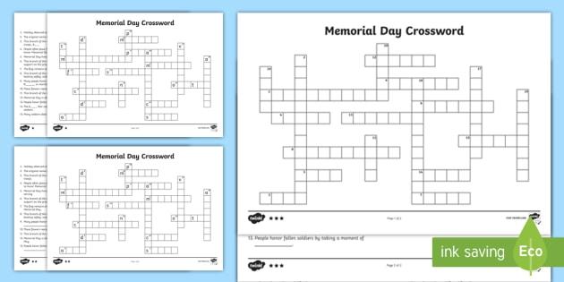 Memorial Day Crossword - Memorial Day worksheet, veterans day, memorial day resources, memorial day crossword, memorial day grade 2, ho