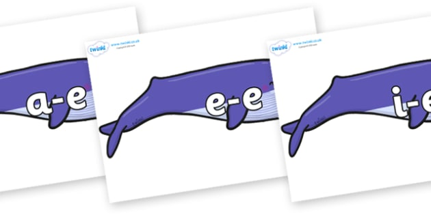 Modifying E Letters on Whales - Modifying E, letters, modify, Phase 5, Phase five, alternative spellings for phonemes, DfES letters and Sounds