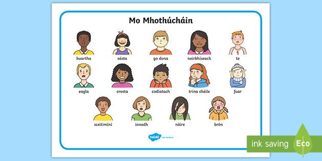 My Feelings Word Mat Gaeilge (teacher made)