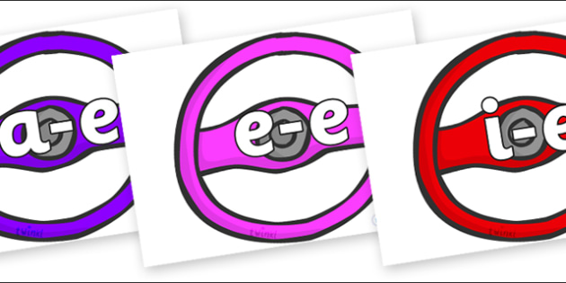 Modifying E Letters on Steering Wheels - Modifying E, letters, modify, Phase 5, Phase five, alternative spellings for phonemes, DfES letters and Sounds