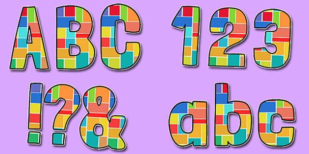 Multicoloured Geometric Squares Patteren Themed Funky Display Lettering - display lettering, display, lettering, funky